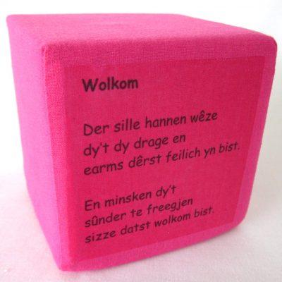 Geboortekubus-roze-tekst, Friese welkom tekst voor baby, handgemaakt uniek geboortecadeau, leuk persoonlijk kraamgeschenk met naam, kado baby, geboorte Keepingtouch